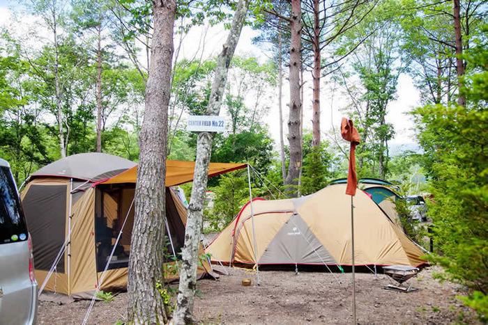 ライジングフィールド軽井沢に貼ってあるスノーピークのテント