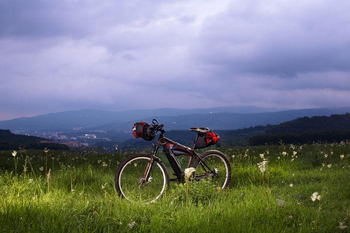 バイクパッキングした自転車