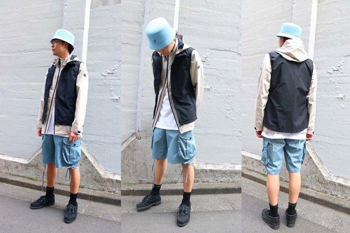 アウトドアファッションをした男性の写真