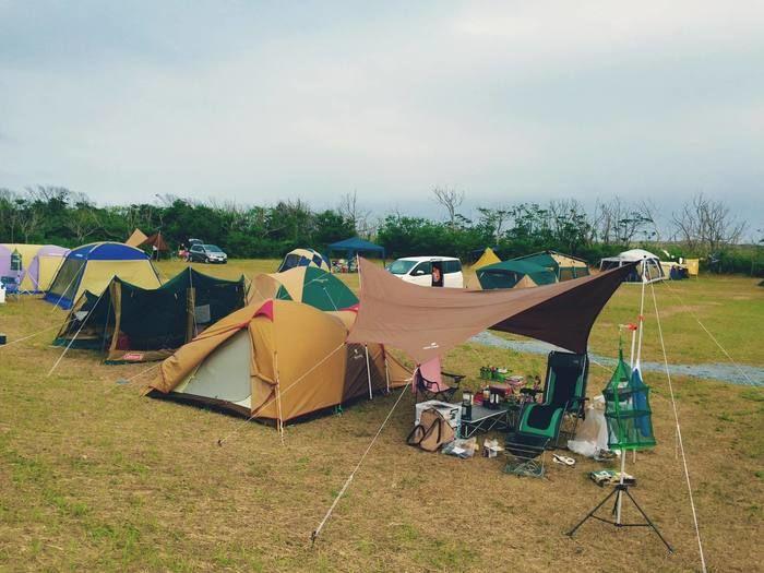 九十九里浜シーサイドオートキャンプ場でのキャンプの様子