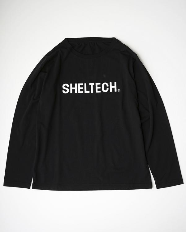 黒いSHELTECKロゴ入りロングTシャツ