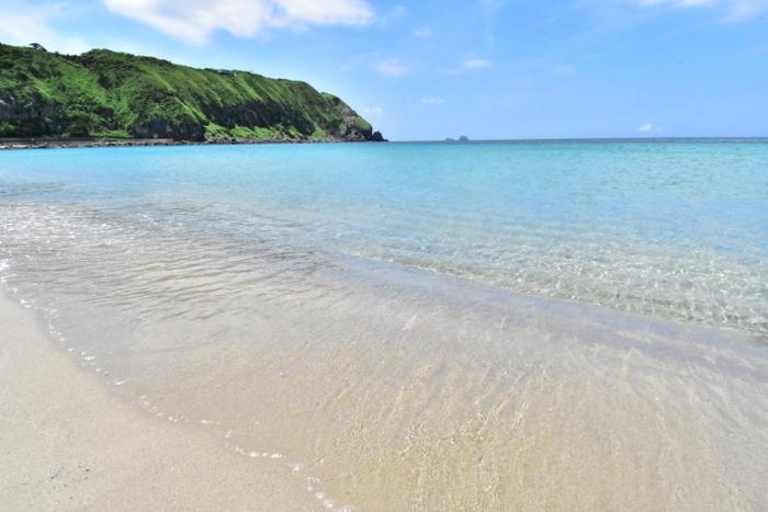 前浜海岸の透き通る海