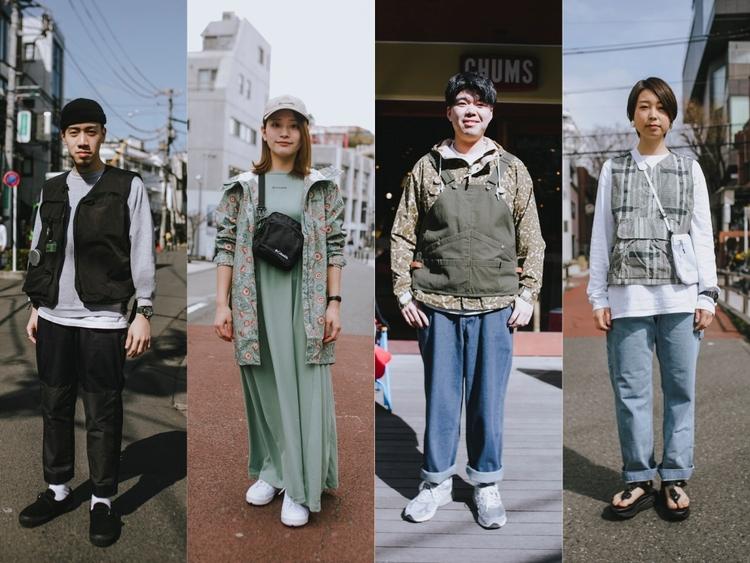 フェスコーデの4人のファッションスナップ(UNBY,コロンビア,CHUMS,スノーピーク)