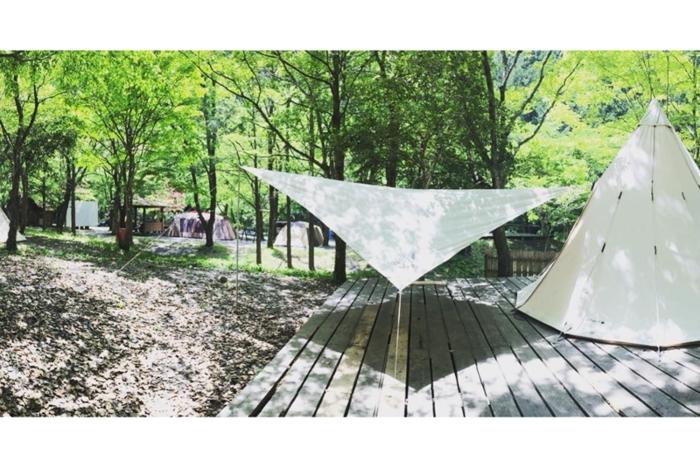 不動の滝自然広場オートキャンプ場でのキャンプの様子