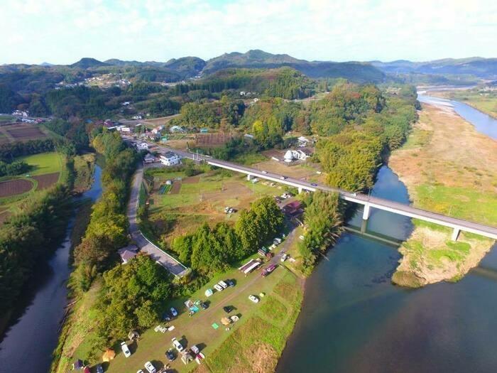オートキャンプ那珂川ステーションを上空から見たところ