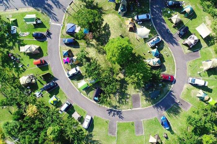 つがる地球村のオートキャンプ場を真上から見たところ