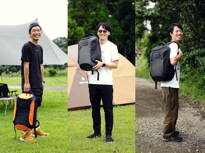 UAGのバッグを持った3人