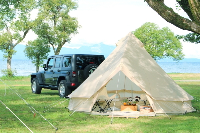 ワンポールテントを使ったオートキャンプ