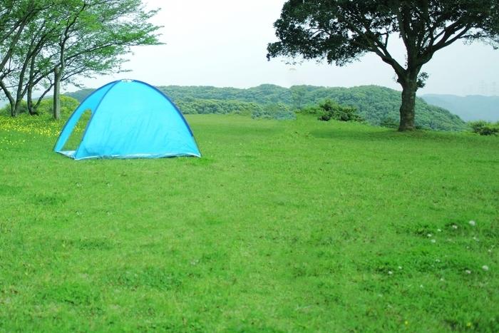 草原にあるニトリのワンタッチテント