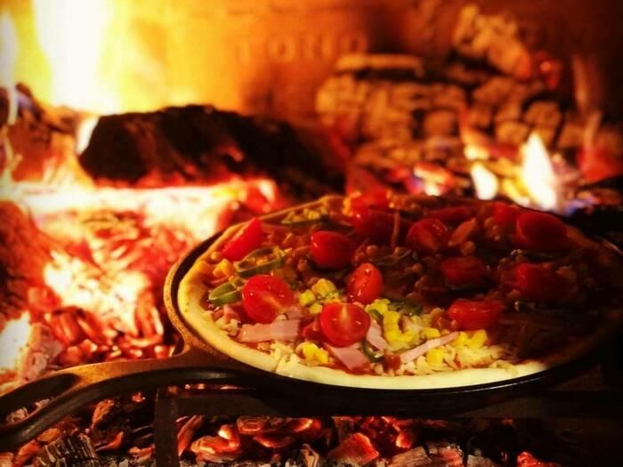 キャンプでできるピザ