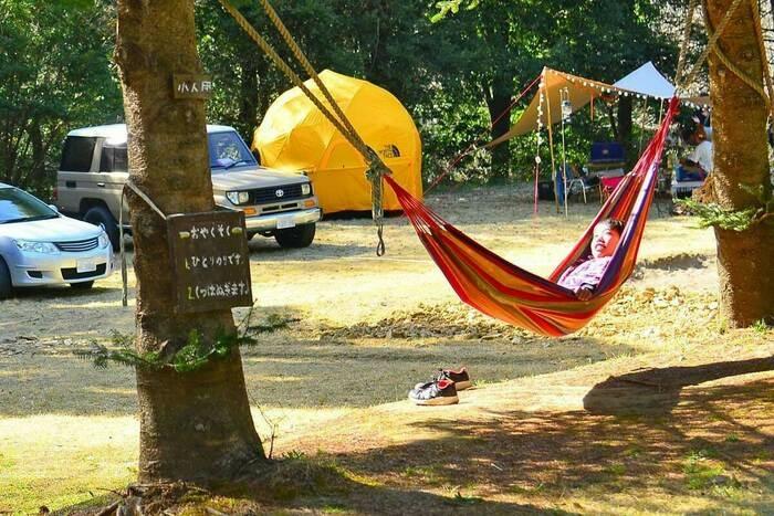 アスパイヤの森キャンプ場でハンモックに乗っている子どもの画像