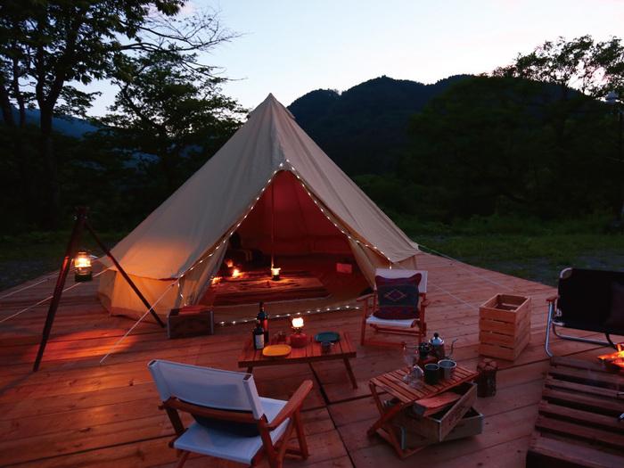めいほう高原キャンプフィールドに貼ってあるキャンプテントの画像