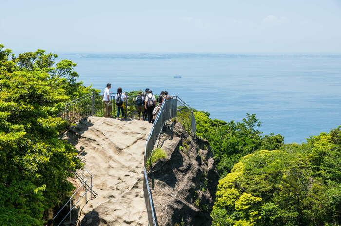 南房総の海を眺めている人たちの画像