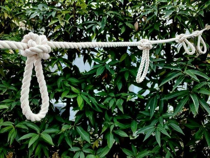 バタフライノットで縛ったロープの画像