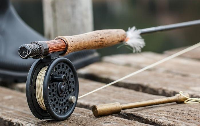 釣り堀に置かれた釣り竿