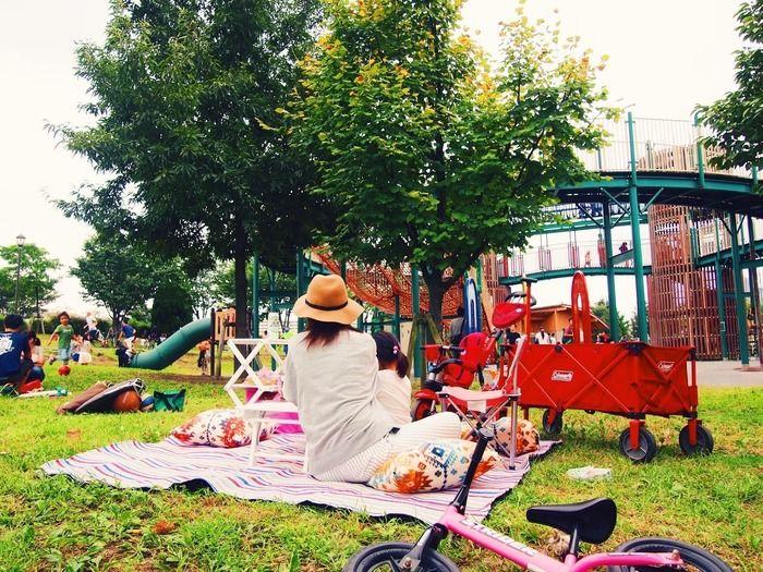 汐入公園で家族でピクニックをする様子