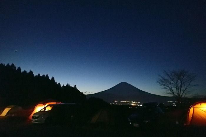 乙女森林公園第2キャンプ場の夜の様子