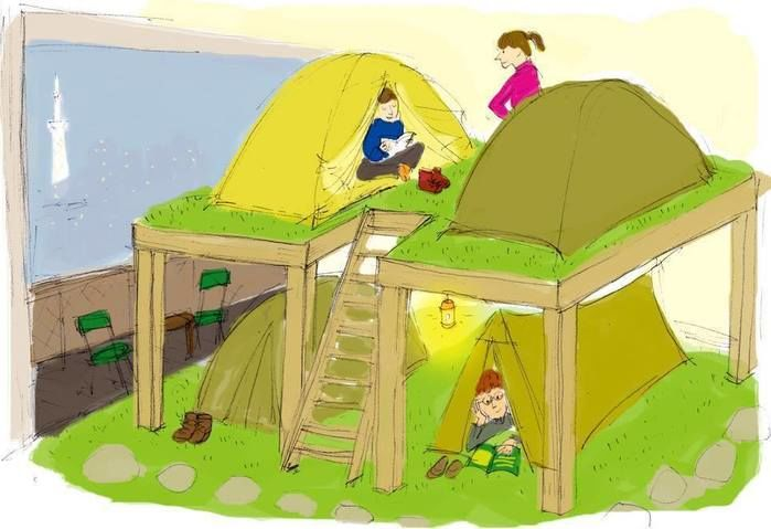 スカイツリーを見ながらキャンプをする絵