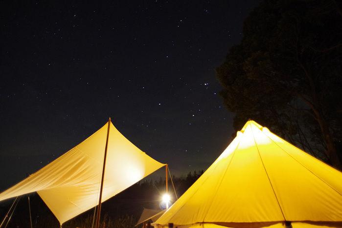 空に星が広がる夜のキャンプ場