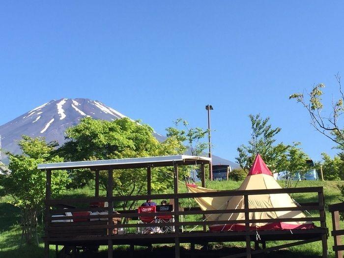 富士山が見えるキャンプ場からの景色