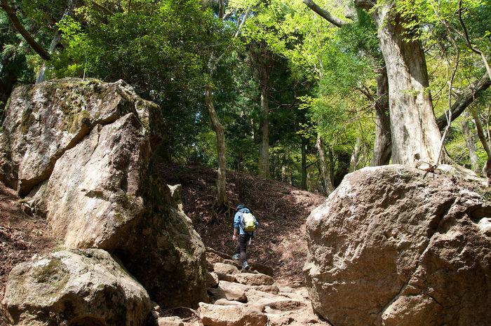 岩山を登る男性