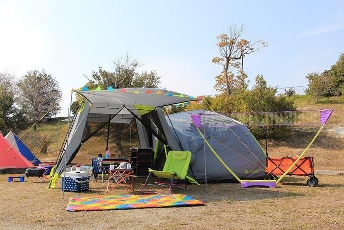 ドッペルギャンガーのキャンプギアを設営した様子