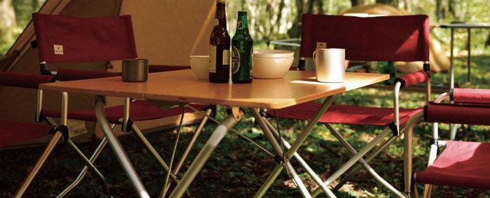 アウトドアテーブルの使用例