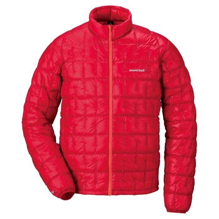 モンベルの赤いダウンジャケット