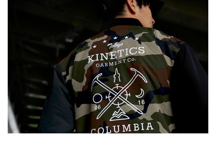 コロンビアとキネティクスのコラボジャケット、パイロット スウィープ ジャケットを着た男性