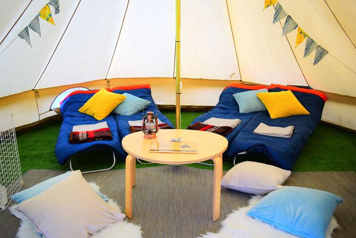 ギランピングのテント内の様子