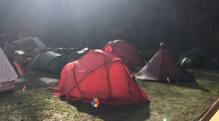 キャンプ場に設置されたたくさんのテント