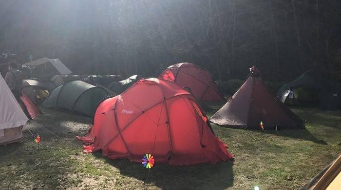 キャンプ場に張られた数々のソロキャンプ用のテント