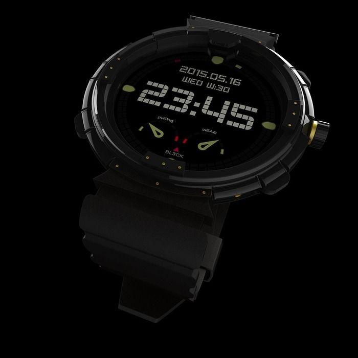デジタルの黒い腕時計