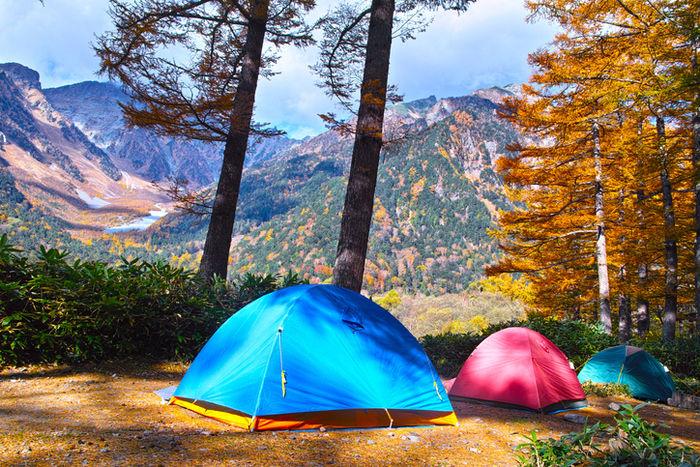 道志の森キャンプ場の紅葉した山が見える林間サイト