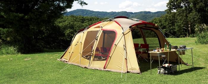 スノーピークのテントを設営した様子