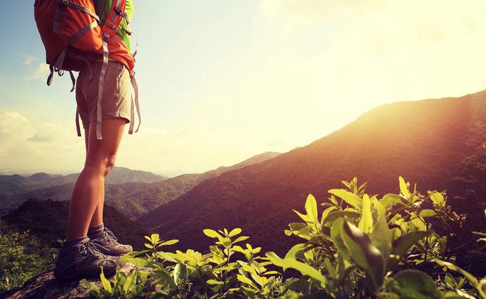 山の上から景色を眺める人