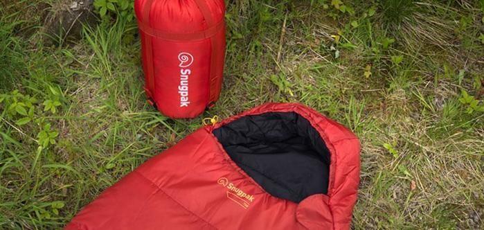 芝生の上にマミー型の寝袋