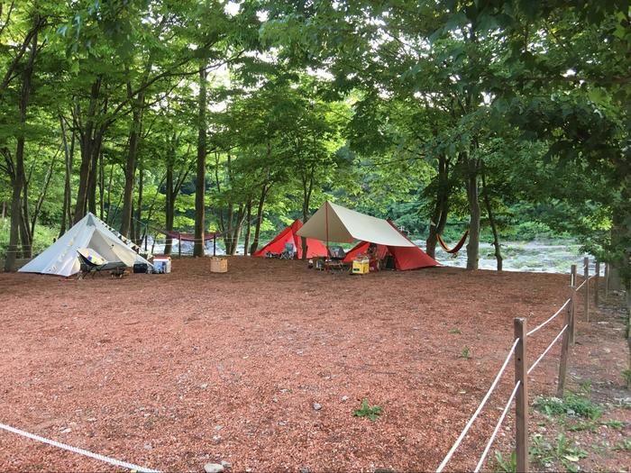 パンダテントが設置されたテントサイト