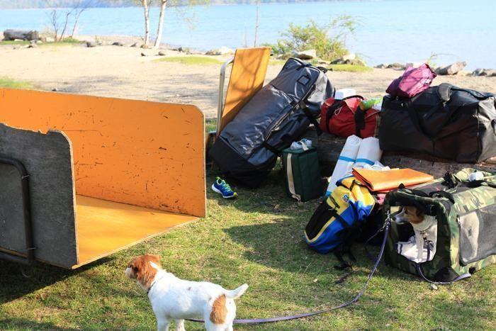 キャンプの片付けで一か所に集められたカバン