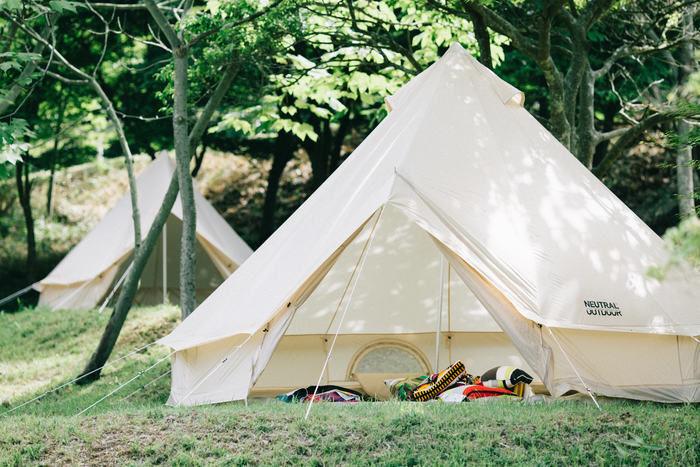 大芦高原キャンプ場に設営されたコットンテント
