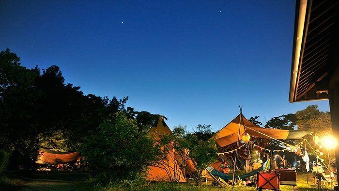 滋賀県のおすすめキャンプ場 グリーンパーク山東 夜の様子