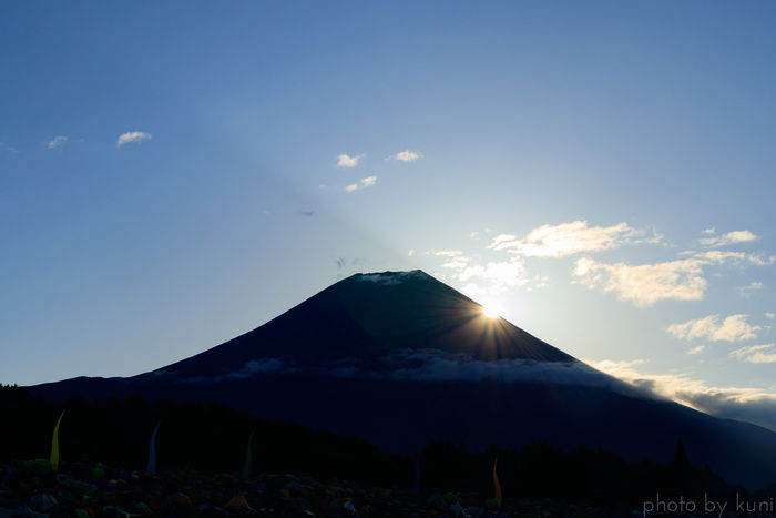 富士山の背後から太陽が登る様子