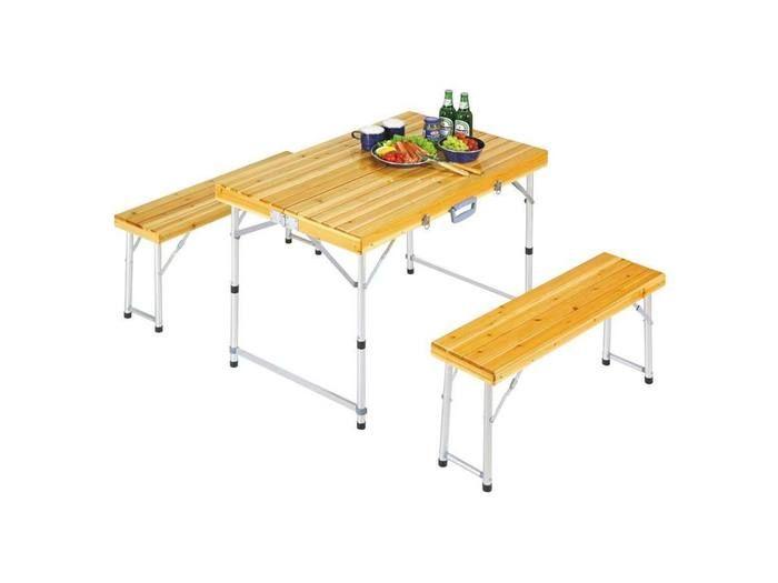 シダー 杉製ベンチインテーブルセット(ナチュラル)