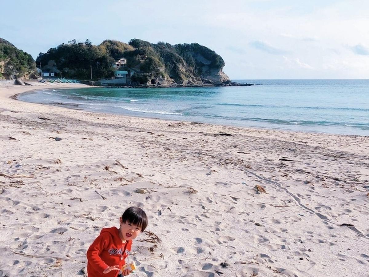 守谷海水浴場で上機嫌の頃の息子