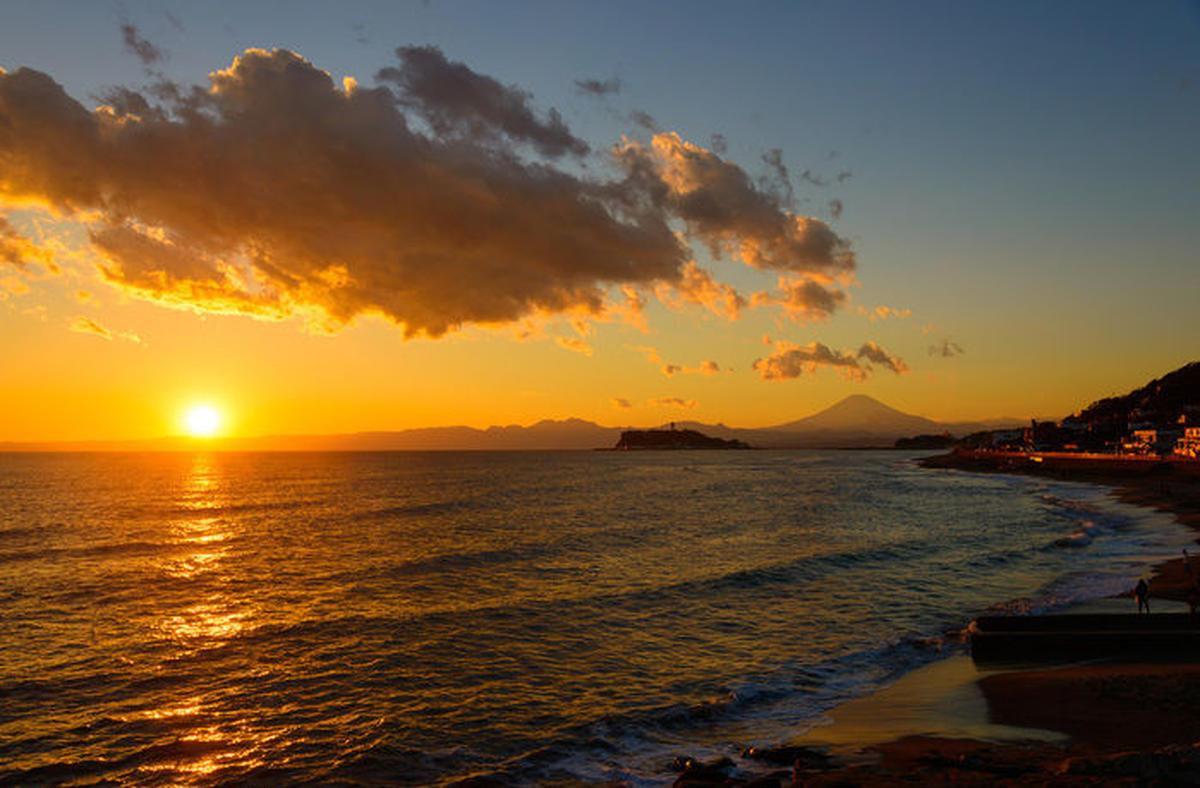 鎌倉の夕暮れの海